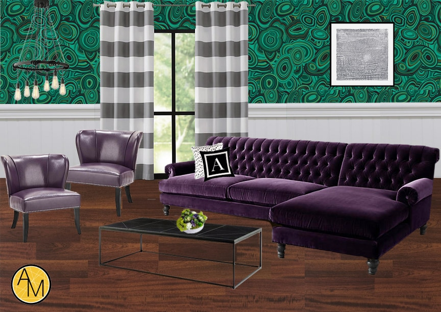 Purple and green modern moodboard. Design by interior decorator Ashley Rose Marino of Ashley Marino Designs in Dallas Fort Worth, Texas.
