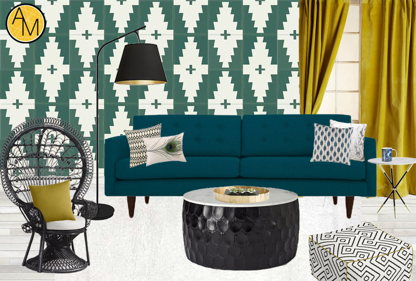Tribal inspired living room moodboard. Design by interior decorator Ashley Rose Marino of Ashley Marino Designs in Dallas Fort Worth, Texas.