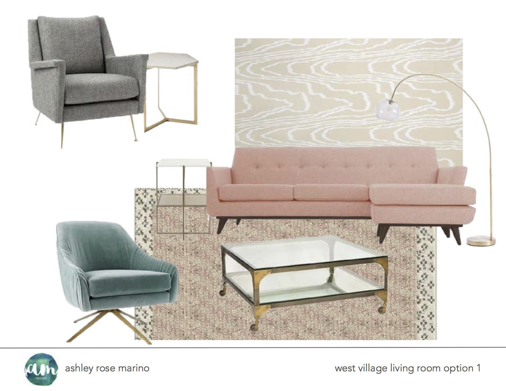 Ashley Rose Marino, principal interior decorator and owner of Ashley Marino Designs. West Village living room option.